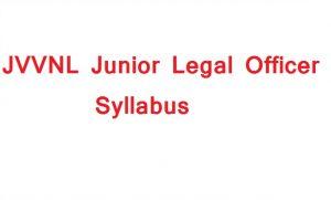 JVVNL junior legal officer syllabus 2018